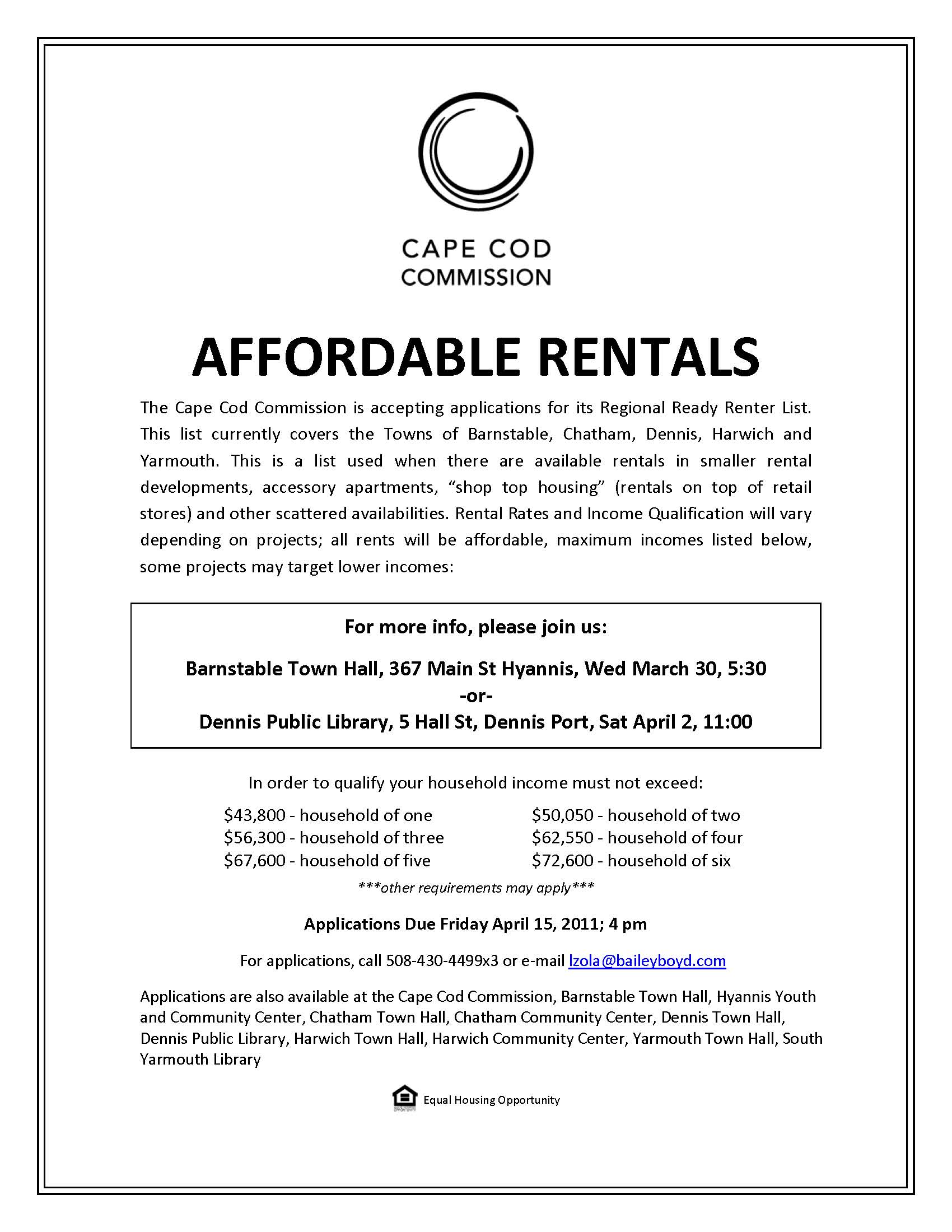 Affordable Housing Ready Renters List | Town of Dennis, MA