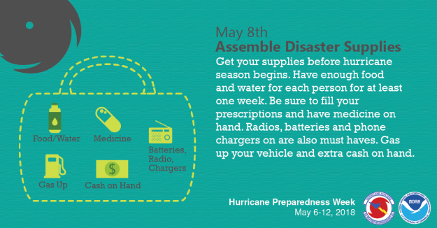 Tuesday, May 8th - Assemble disaster supplies