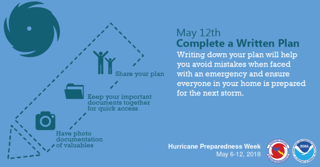 Saturday, May 12th - Complete your written hurricane plan